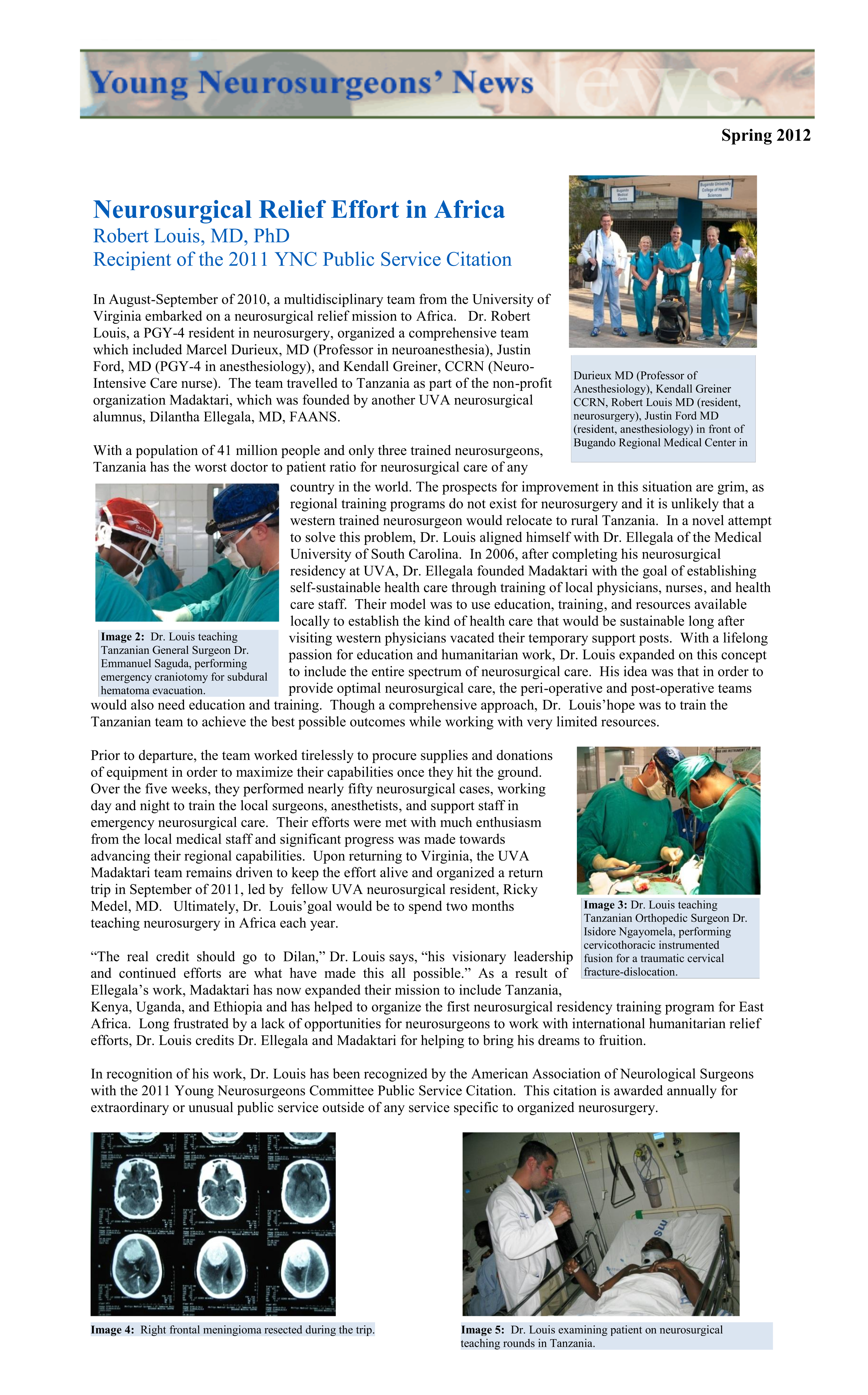 Neurosurgical relief effort in Africa
